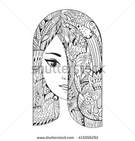 Zen Art Girl Portrait Of A Girl With Zentangle Hair For
