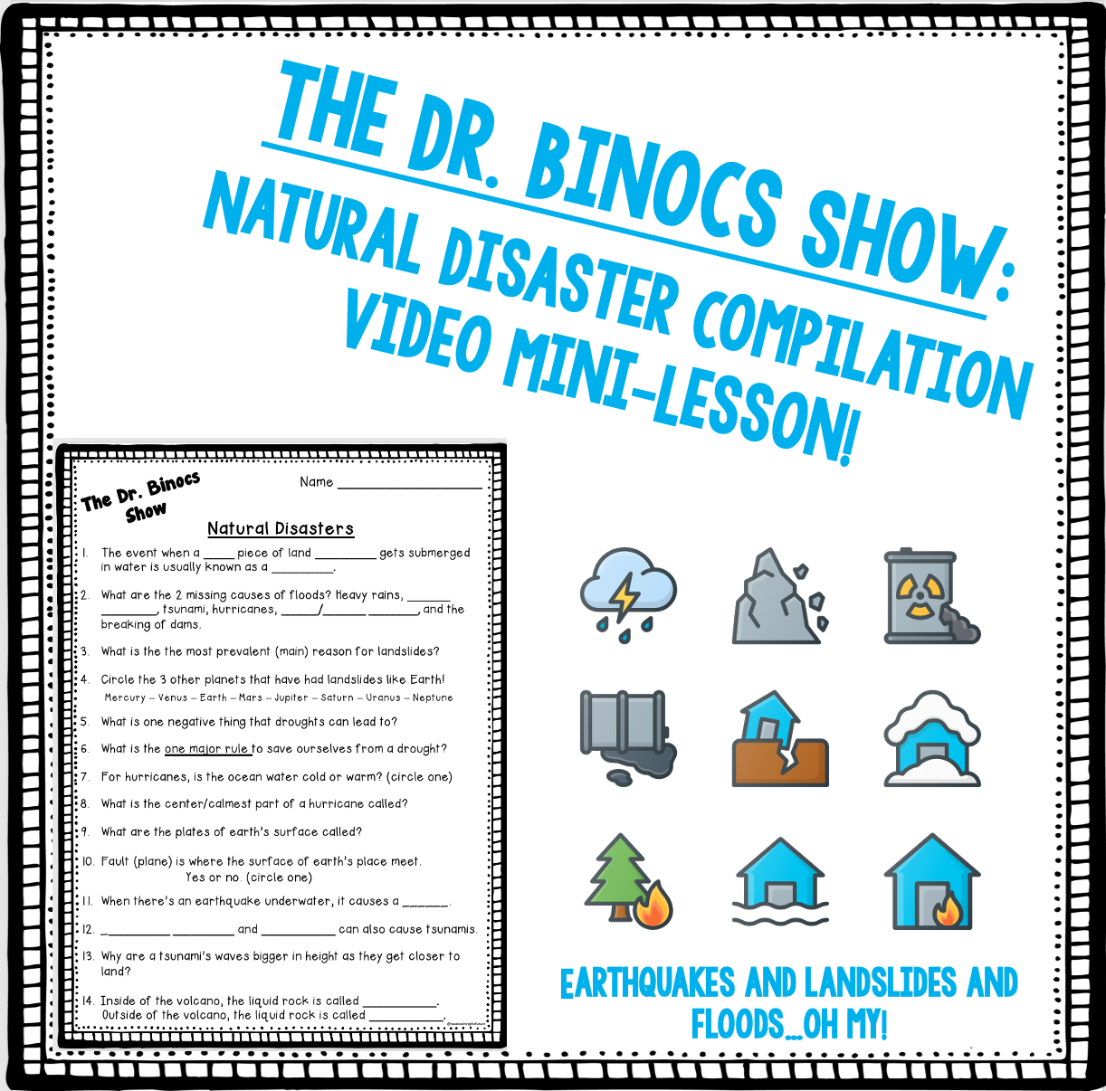 Natural Disaster Video Guide Worksheets Mini Lessons Natural Disasters Teacher Guides [ 1206 x 1222 Pixel ]