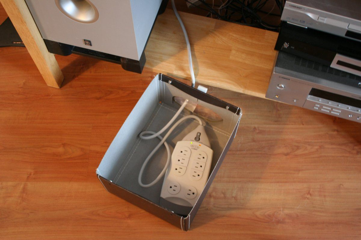 Genius Way To Hide Surge Protector And Cords And Keep Them