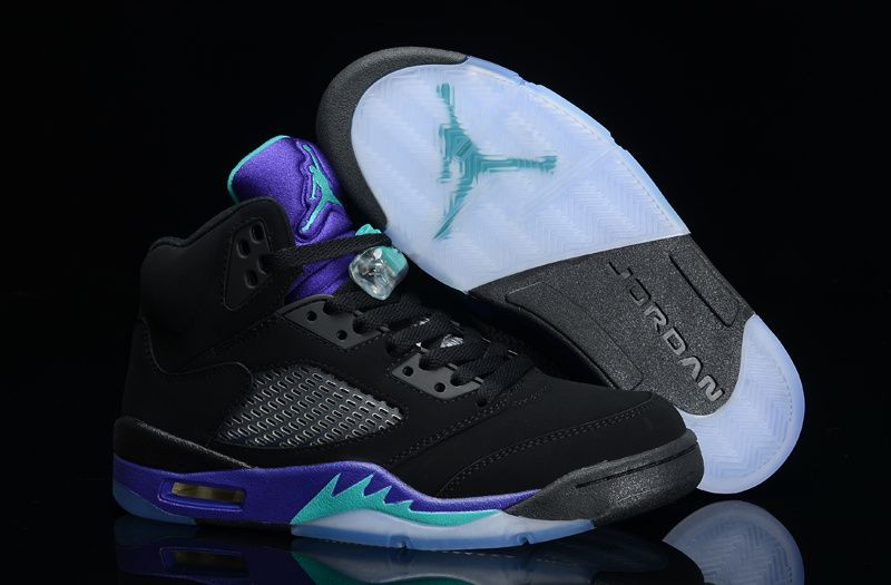 the best attitude 2dbab 1cc64 Air Jordan Retro 5 Black Purple Green
