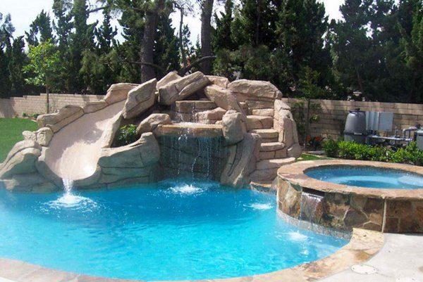 House Pools With Slides 15 gorgeous swimming pool slides | swimming pool slides, pool