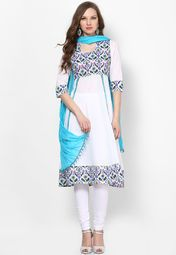 Soothing White Printed Suit Set