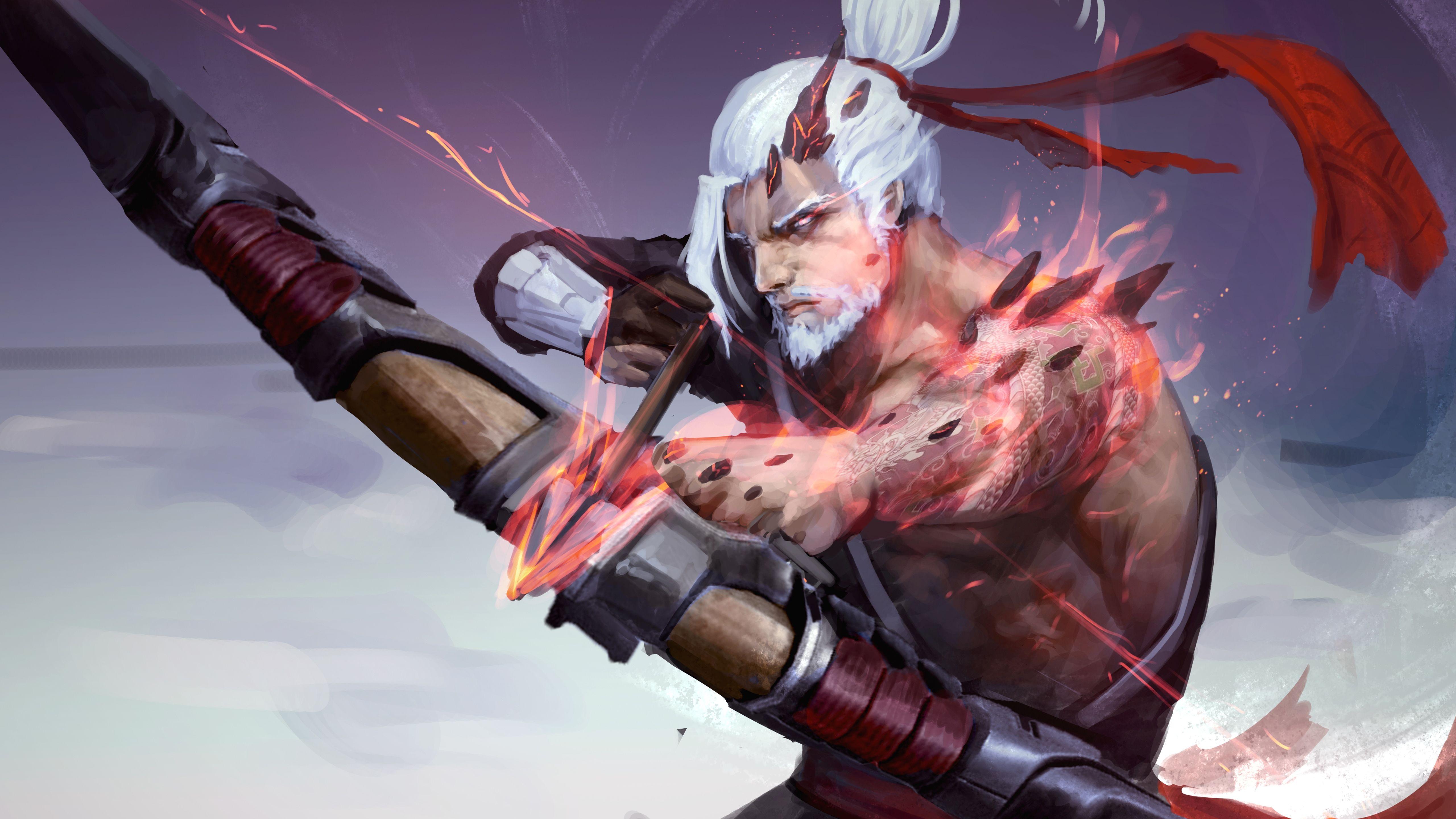 Cool Demon Hanzo Overwatch 5K 5120x2880 wallpaper