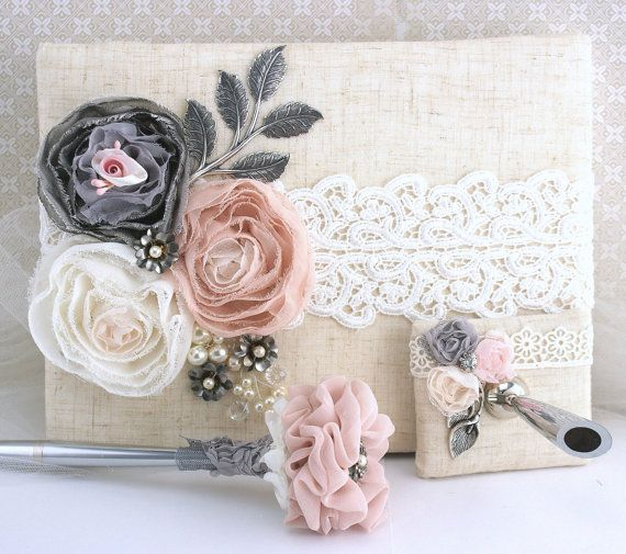 Guest Book, Blush, Pink,Silver, Ivory, Gray, Anniversary, Birthday ...