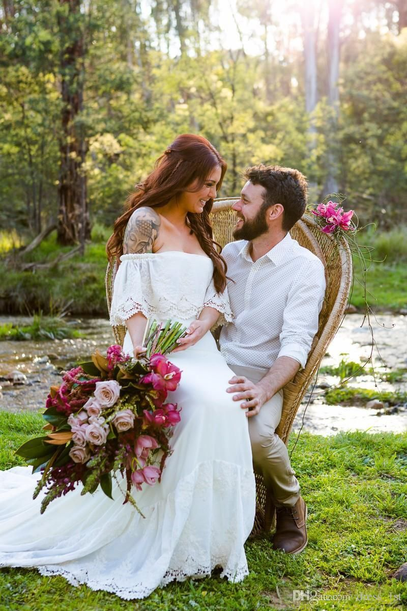 Bohemian wedding dresses latest cheap ivory lace and chiffon