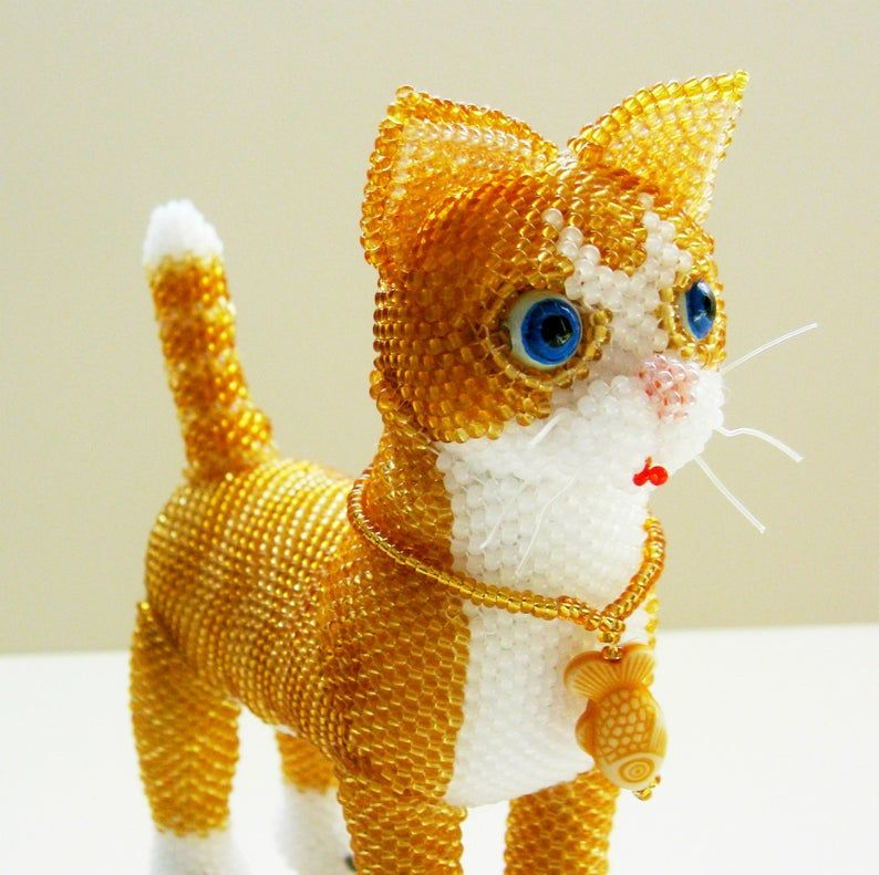 Pattern cat /Tutorial cat Bead toys,INSTANT DOWNLOAD pdf,How to make a cat Like a cat ,how to make a cat- Beaded cat pattern Ginger kitten #gingerkitten