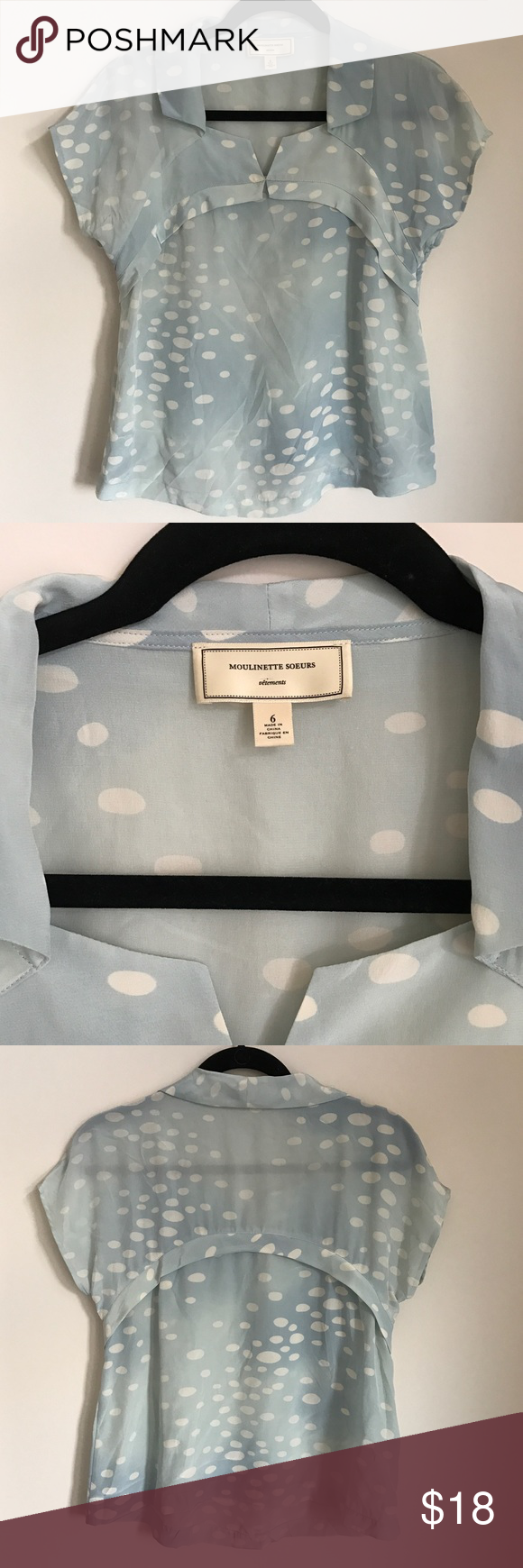 Anthropology Moulinette Soeurs Top Beautiful light blue Sheer polka dot top. Top is a size 6. Please feel free to contact with any questions or additional photo requests. Thank you for your interest! Anthropologie Tops