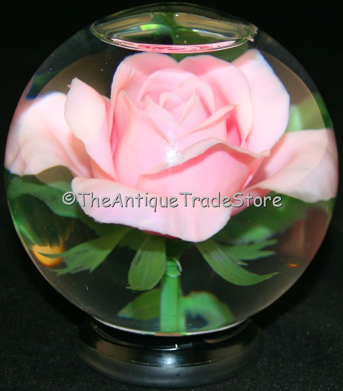 Antique Snowglobes Just A Rose Suspended In Snow Globe Fluid My