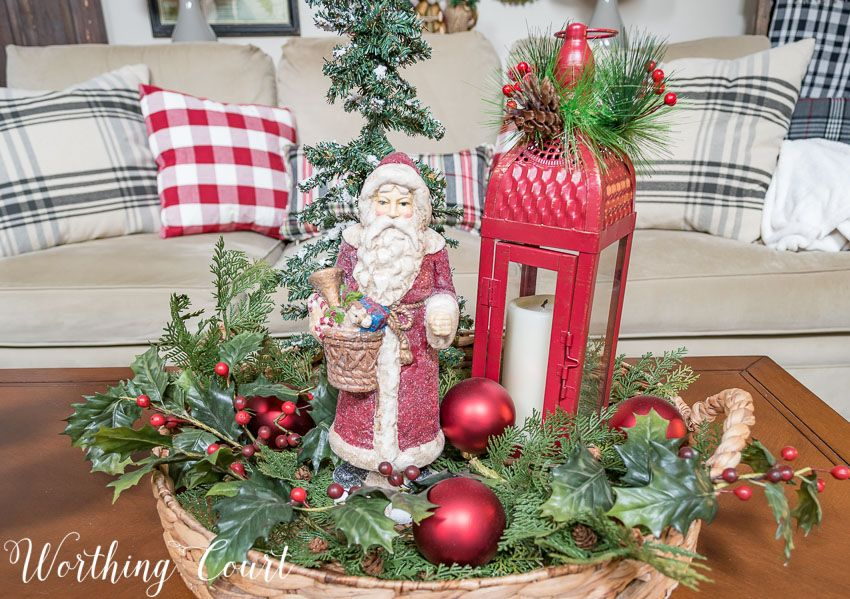 Coffee Table Christmas Vignette In A Round Tray Worthing Court Christmas Coffee Table Decor Christmas Vignettes Tray Decor Christmas