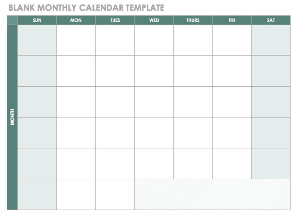 Blank Monthly Calendar Template Pdf Blankcalendar Template