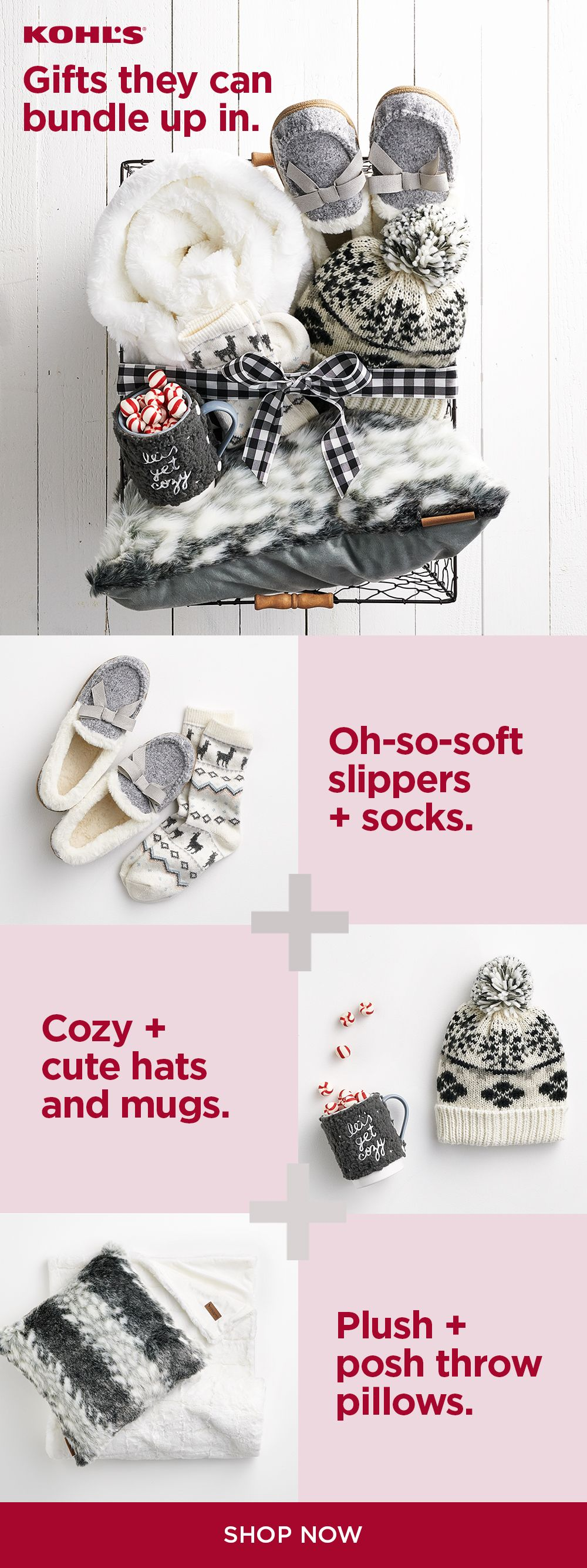 Find Cozy Warm Gifts At Kohl S Not Sure What To Give Give The Gift Of A Cozy Night In When The Weat Merry Christmas Gifts Christmas Gift Baskets Warm Gift