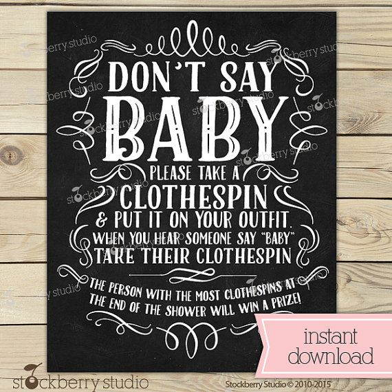 Chalkboard Baby Shower Donu0027t Say Baby Game Printable   Clothes Pin Game    Chalkboard Baby Shower Game   Chalkboard Baby Shower Sign