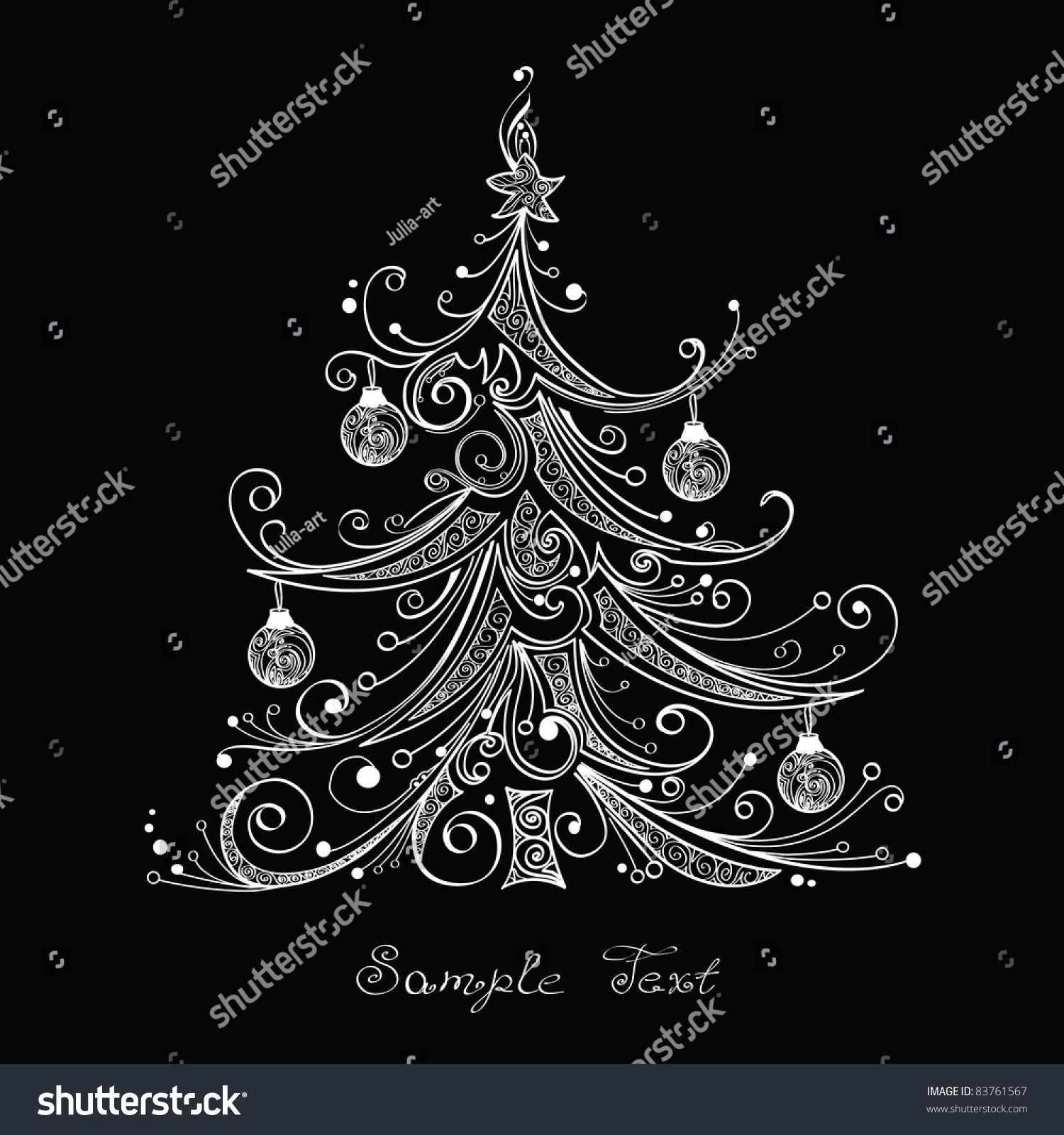 Schwarz-Weiß-Weihnachtsbaum, Vektorgrafik Stock-Vektorgrafik (Lizenzfrei) 83761567
