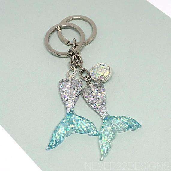 dd62b32679 Blue & Silver Glitter Mermaid Keychain Keyring Mermaid | mermaid ...