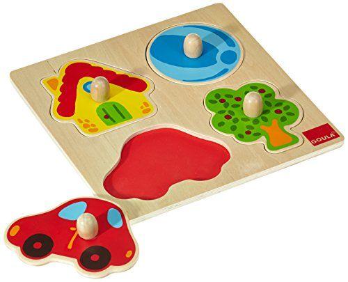 Goula – Puzzle de colores, 4 piezas de madera (Diset 53015