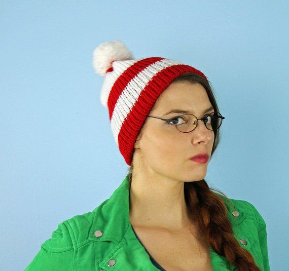 2ff37dd6ab5 Peppermint Cap Waldo Beanie Hat Red and White Striped Pom Pom Winter ...