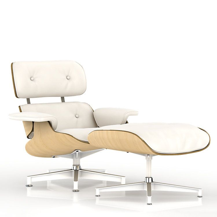 eames lounge chair white ash by herman miller ash ottomans and