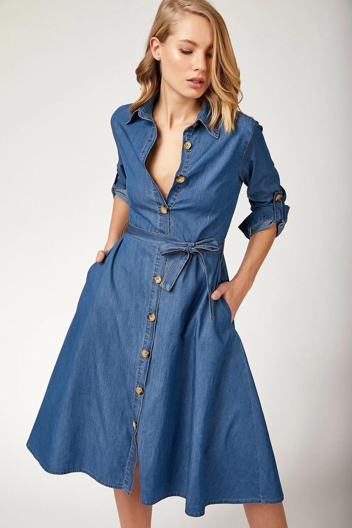 Bigdart 1924 Kusakli Kemerli Jean Elbise Trendyol 2020 The Dress Elbise Kiyafet