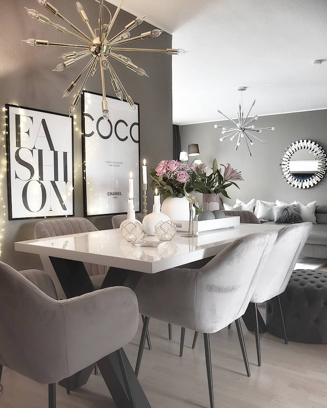 Gray Interior All Gray Interior Silver Walls Silver Chairs Silver Velvet Chairs Silver And Whit With Images Dining Room Design Dining Room Inspiration Dining Room Decor #silver #furniture #living #room