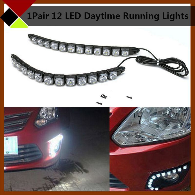 1 Pair 12 Smd White 12w Flexible Led Strip Lights High Power Car Daytime Running Lights Drl Warning Flexible Led Strip Lights Led Strip Lighting Running Lights