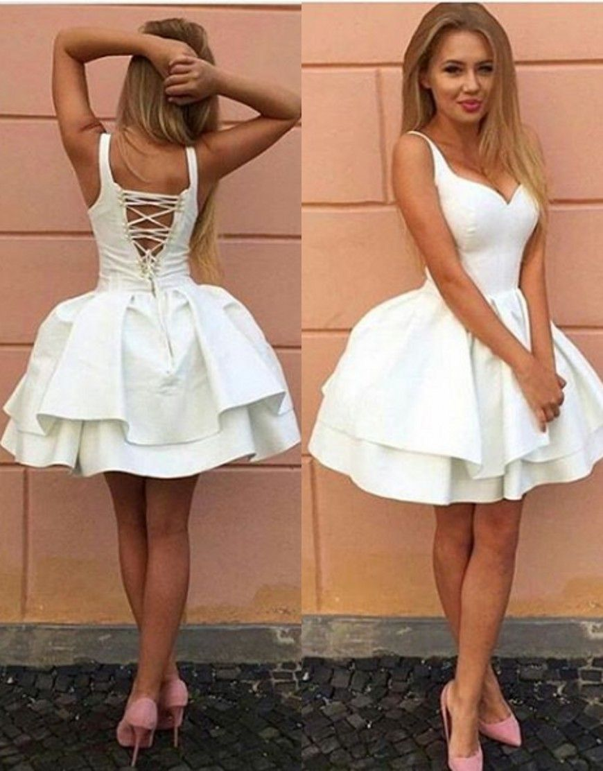 Sexy above knee length white homecoming dressshort sexy istyle