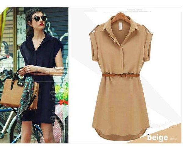 4.67€ - Women Short sleeved Large Size Loose Shirt Chiffon Dresses Fashion Casual - fashion sexy goddess