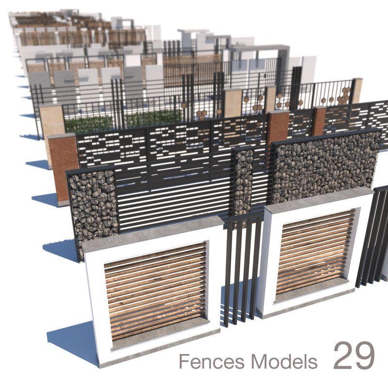 modern fence 3D model   Revit em 2019   Blocos sketchup