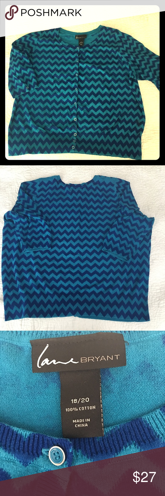 { Lane Bryant } Blue Chevron Cardigan Size 18/20. Add this sassy chevron pattern to your closet for multiple looks. Pairs well with skinny jeans and heels for a hint of rockabilly, or with  sleeveless dresses and tops for an extra layer of warmth. Blue buttons add a nice detail to the cuffs. Wear buttoned-up, or open, and toss in your bag for later. Machine-washable, no damage. Smoke-free home. Lane Bryant Sweaters Cardigans