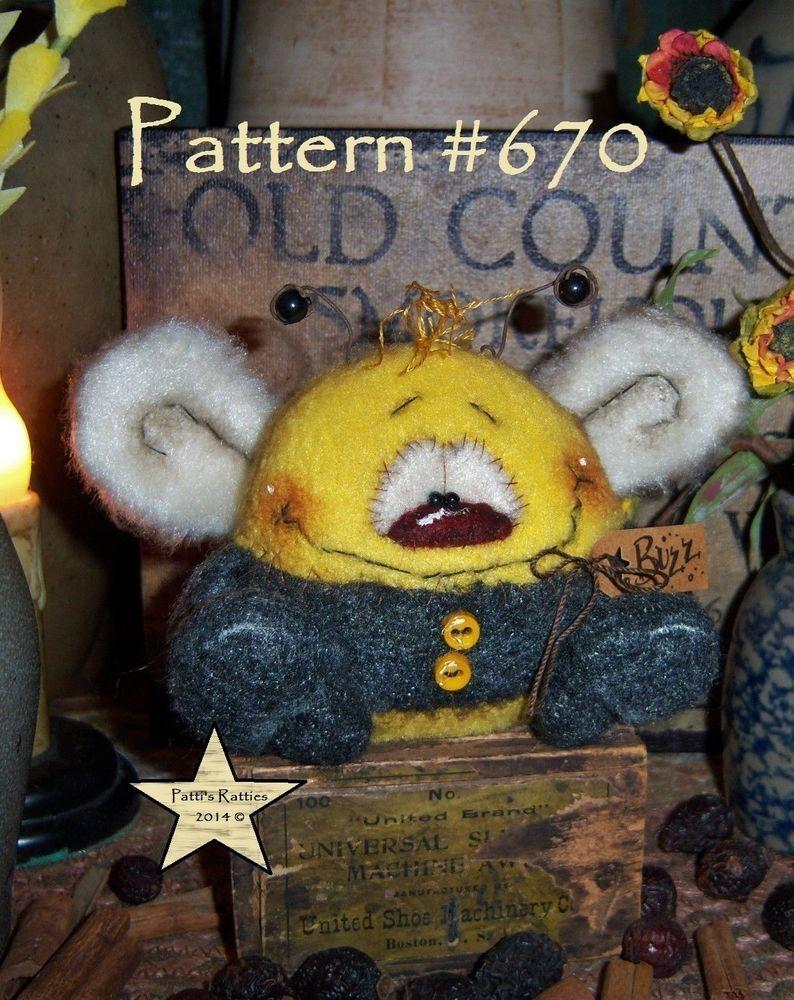 "Patti/'s Ratties Primitive Bee Bug Butterfly 3/"" Doll Ornament Paper Pattern 670"