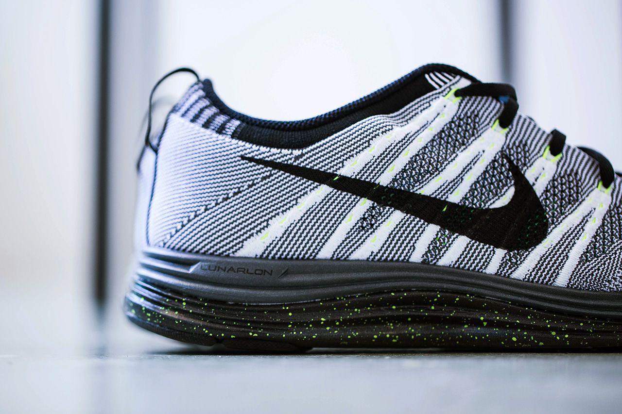 huge discount 882b7 a3a9e Nike Flyknit Lunar 1+ White/Black-Dark Grey-Volt | Shoe ...