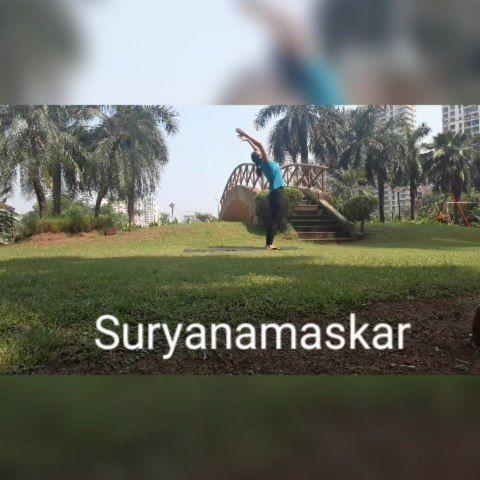 suryanamaskar / sun salutation 12 yoga poses done as one