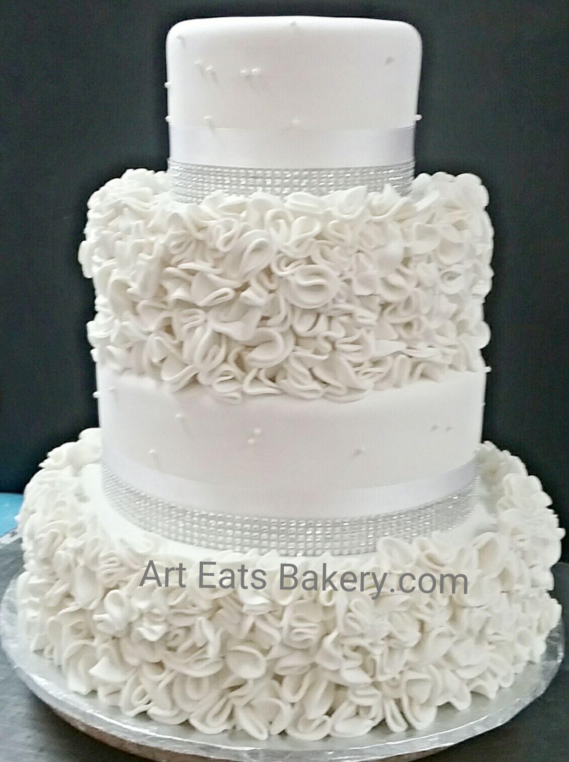 4 Tier Custom White Fondant Modern Elegant Ruffle Design Wedding Cake With Sugar Pearls And Bling