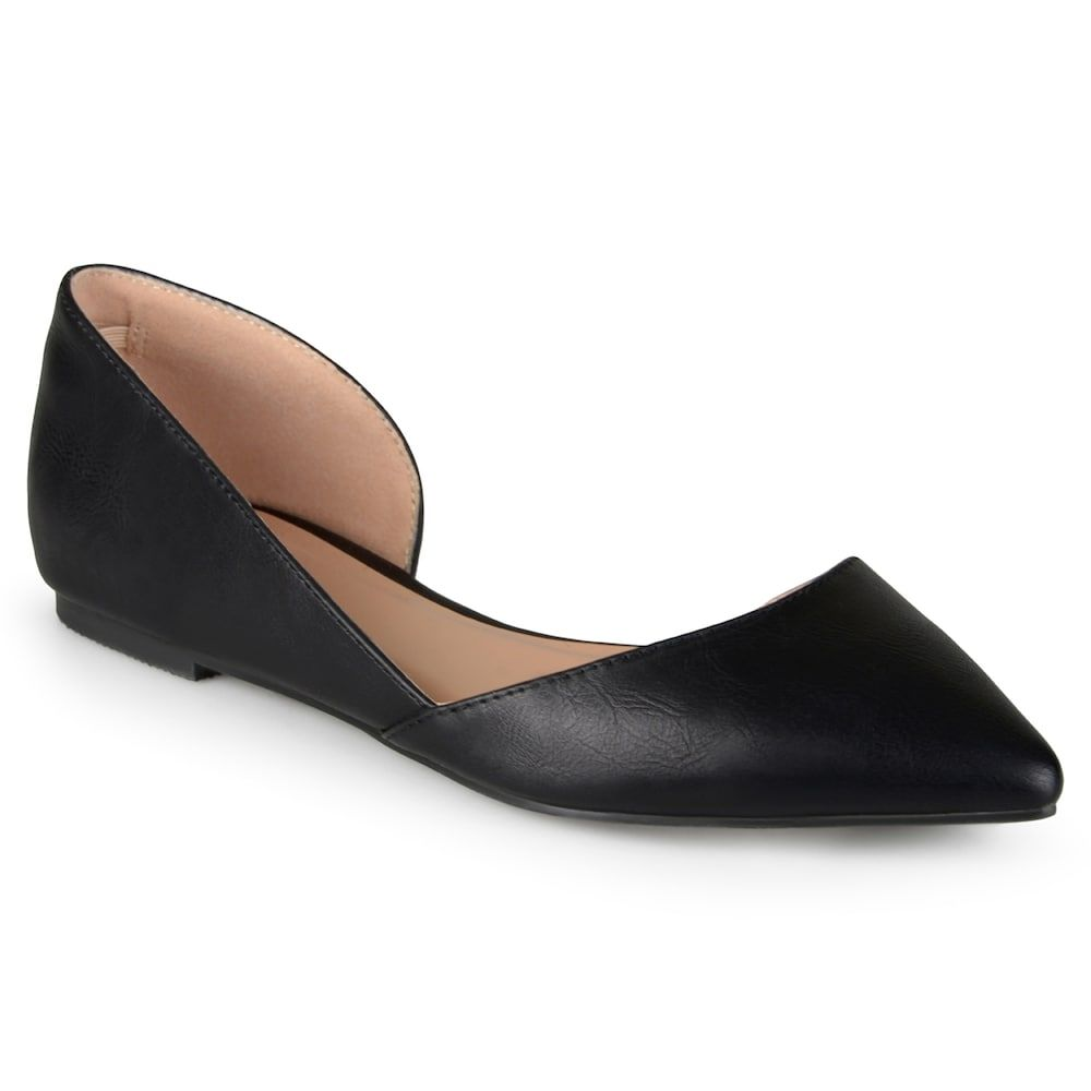 Women's Journee Collection Cortini Pointed Toe Cut- Out Ballet Flats - Black  11