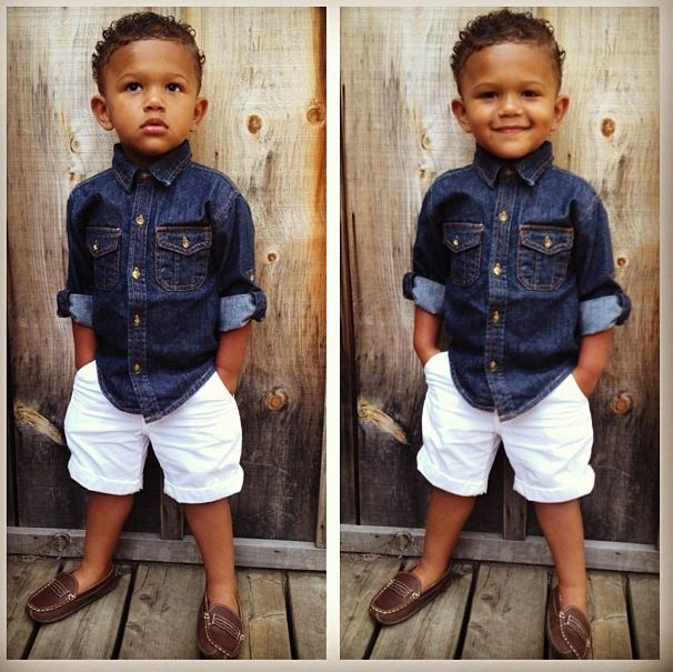 Chambray shirt with leather loafers