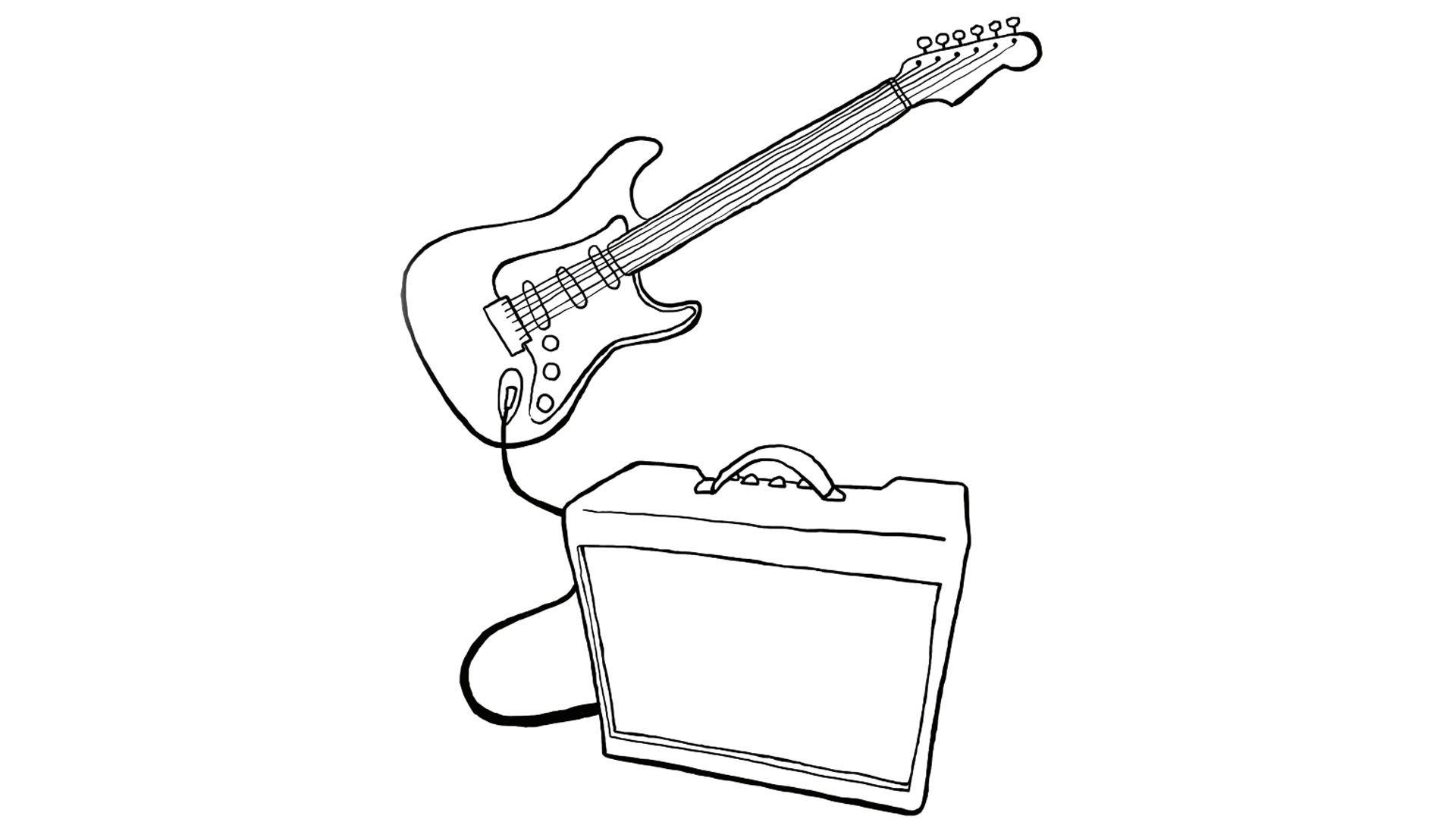 kleurplaat een electrische gitaar elektrische gitaar