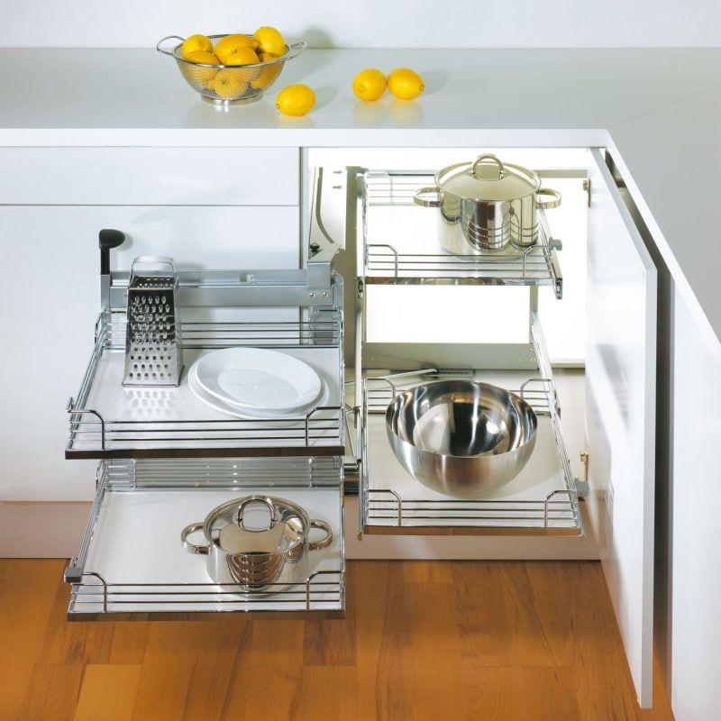 Hafele 548 10 41 Magic Corner Ii Base Unit System Frame For Left Hand Swi Silver Cabinet Organizers