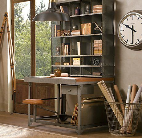 Industrial Desk Shelf Combo Vintage Home Offices Home Office