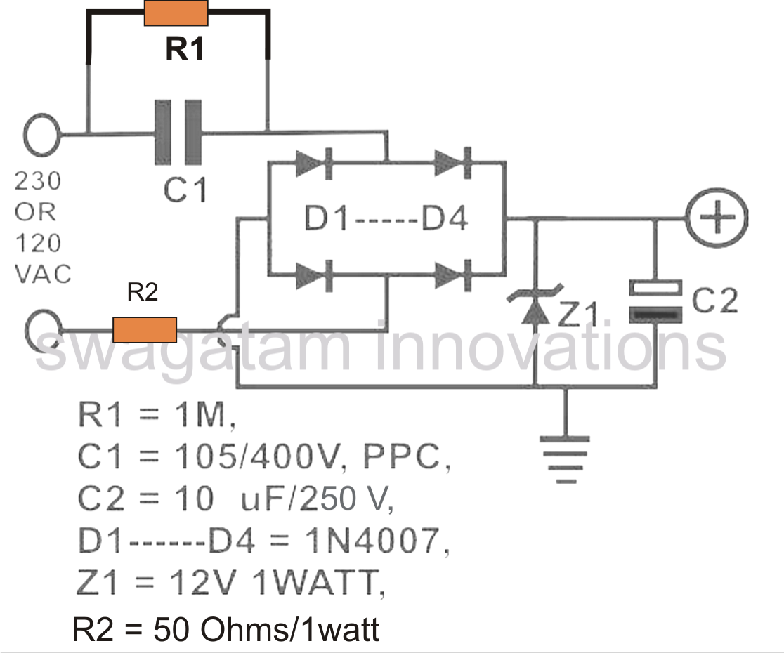 The Post Thoroughly Explains How To Calculate Resistor Values In Trasformerless Capacitive Power Suppl Power Supply Circuit Electronics Circuit Circuit Diagram