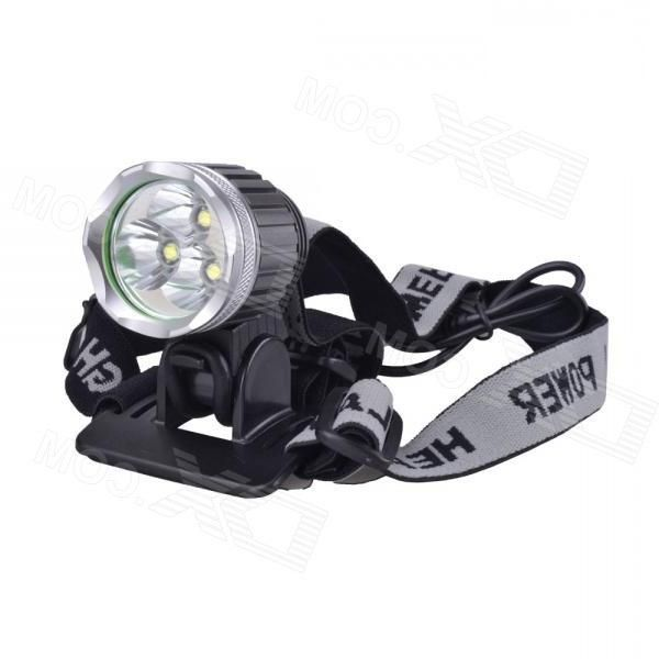 SingFire SF-526 1304lm Cool White 3-Mode Bicycle Headlight w/ 3 x Cree XM-L T6 - Grey (4 x 18650)