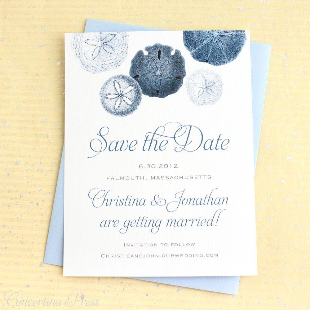 Sand Dollar Save the Date Concertina Press Wedding