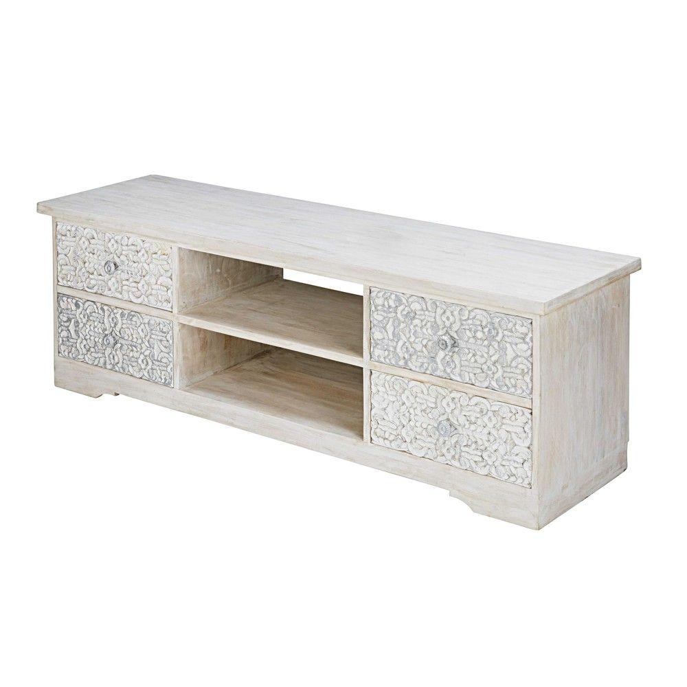 Mueble De Tv De Mango Esculpido Y Blanqueado Muebles De Tv  # Muebles Namaste