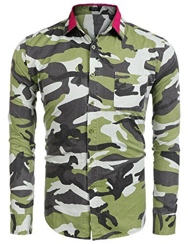 9be8ca45 Coofandy Mens Camouflage Print Long Sleeve Button down Shirts >>> Click  image to review more details. #MenFashion