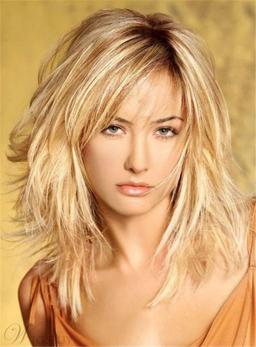 Layered Messy Straight Mid Length Synthetic Hair Capless Wigs 16 Inches Langhaarfrisuren Frisuren Schulterlang Haarschnitt