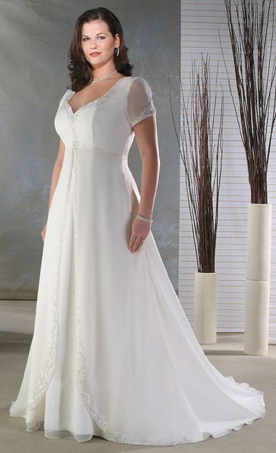 Plus Size Short Sleeve Wedding Dress
