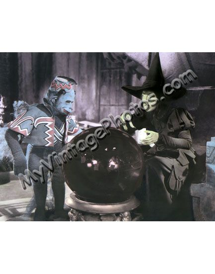 Hand Color Tinted Photo of Margaret Hamilton (w/ monkey), The Wizard of Oz 1939