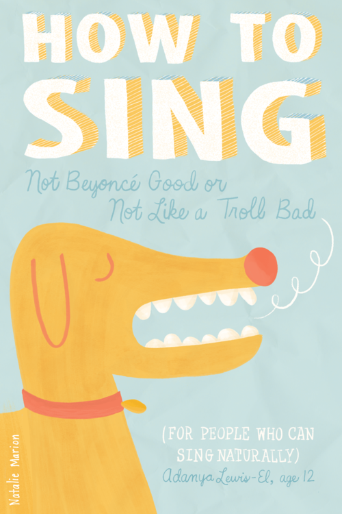 Dog singing. Illustration by Natalie Marion for