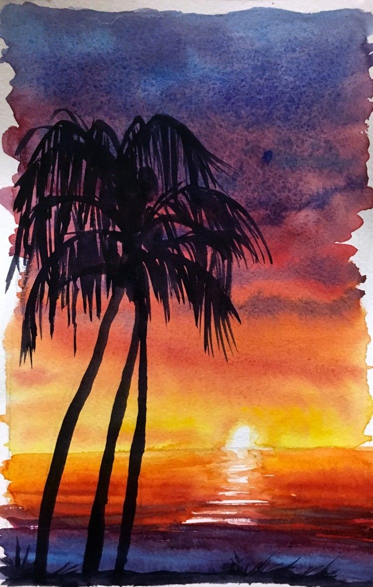 How To Watercolor Paint A Sunset Sky With Silhouettes Risunki