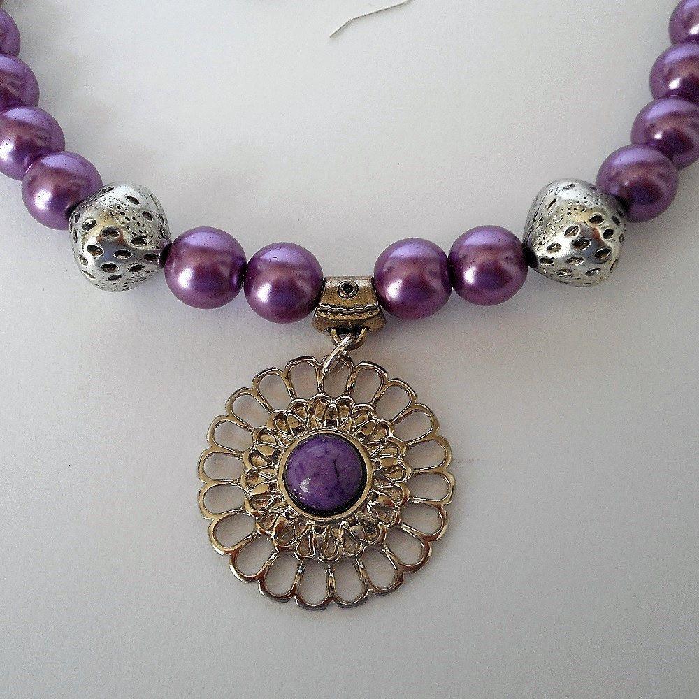 Purple Pearl beaded necklace, purple pearl necklace, purple beads ...