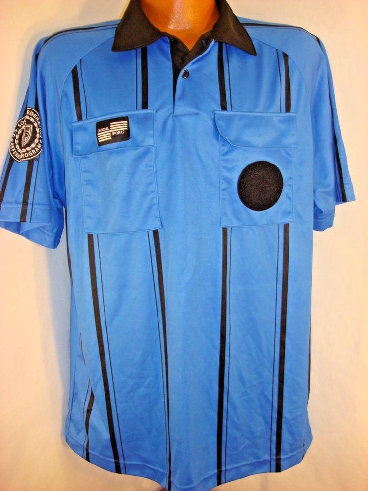 Official Sports International Men S M Soccer Referee Shirt Jersey Blue Black Referee Shirts Soccer Referee Referee