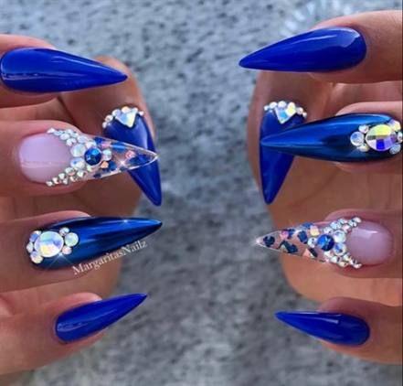 26 ideas nails stiletto bling shape  blue nail designs